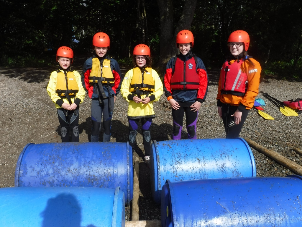 Children's adventure Day raft building coniston Lake district