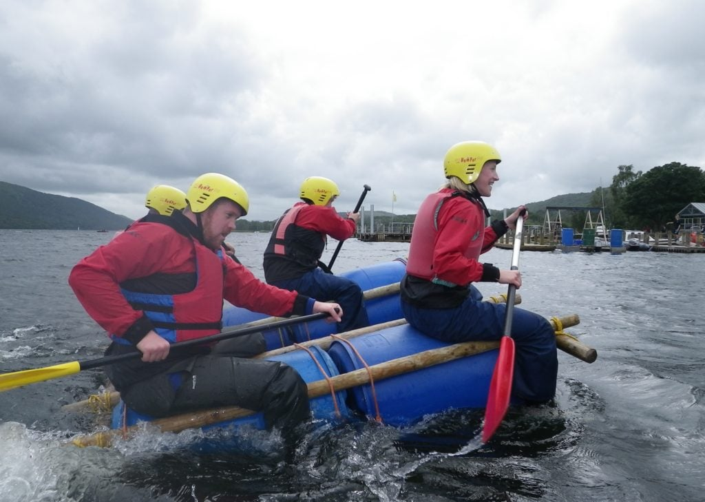 Raft building coniston Lake district