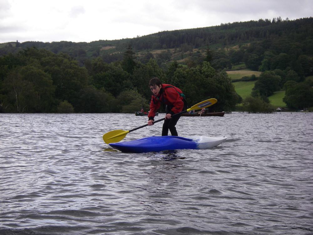 Kayaking Lake District boat standing
