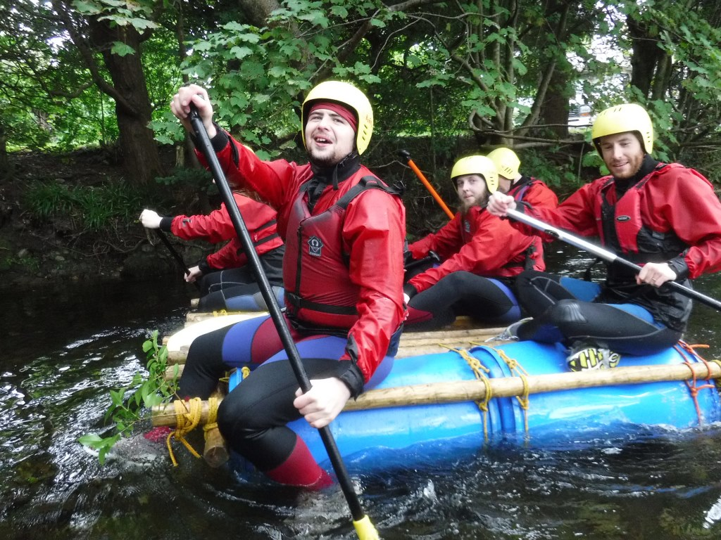 Raft building Coniston water little river journey