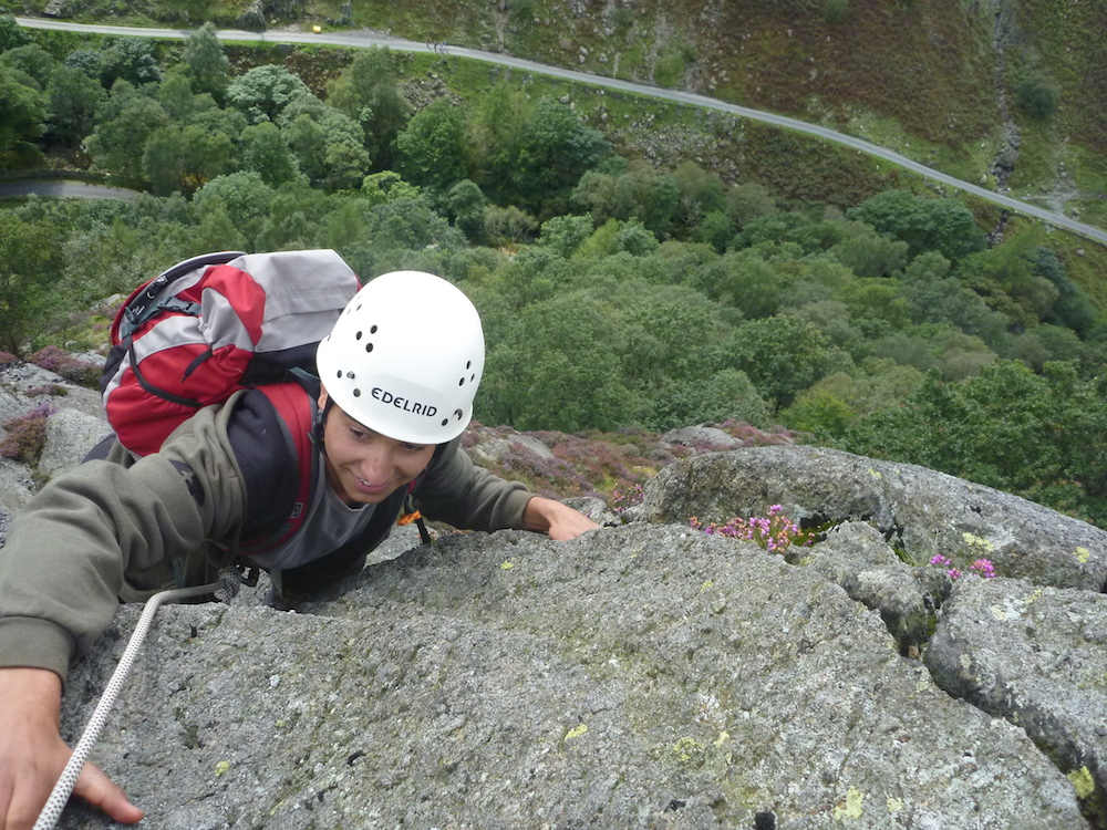 Rock climbing Raven Crag Yewdale Lake District