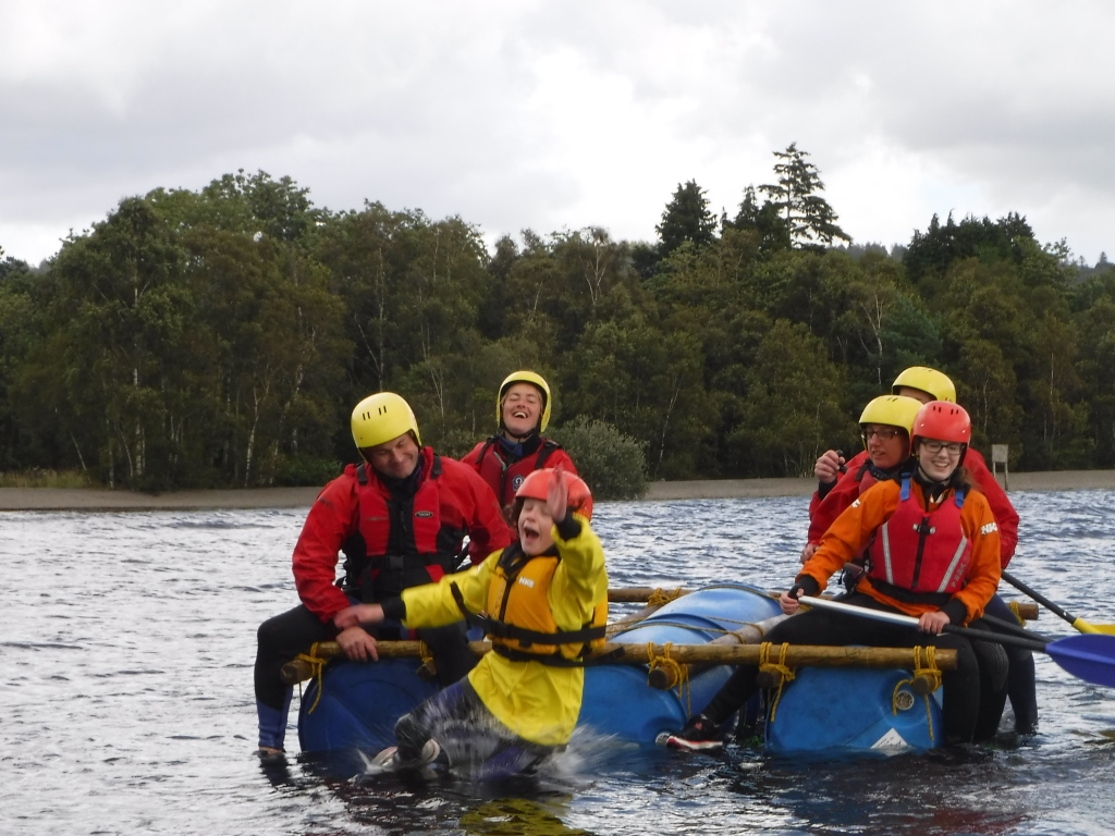 Man over board raft building lake district