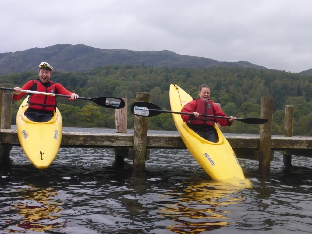 Kayaking on Coniston Water Lake District.