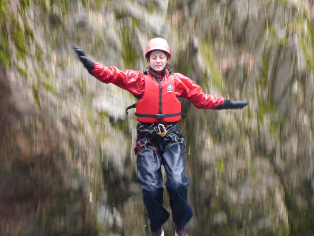 Canyoning involves jumps